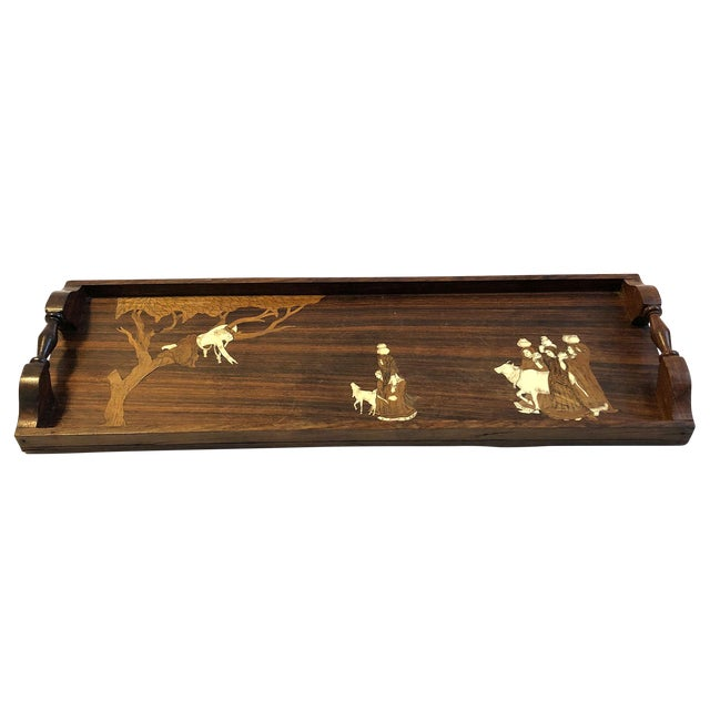 Vintage Indian Marquetry Wooden Tray For Sale