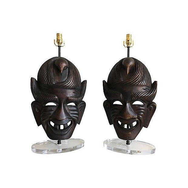 African African Tribal Mask Lamps - A Pair For Sale - Image 3 of 7