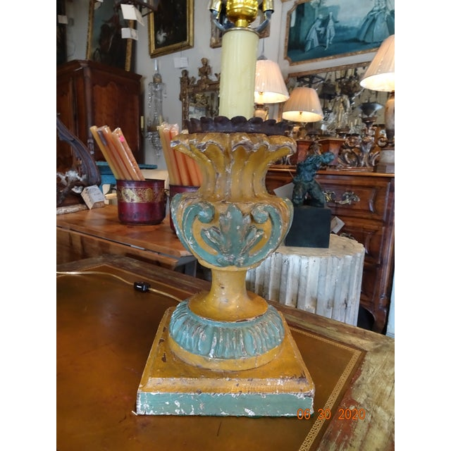 19th Century Italian Hand Carved Acanthus Motif Lamps - a Pair For Sale - Image 9 of 10