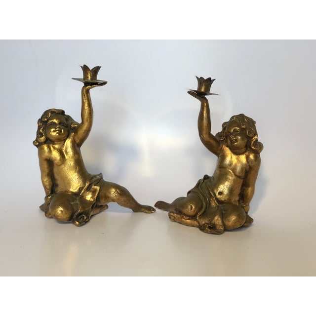 Gold Florentine Gold Gilt Cherub Torche Candle Holders - a Pair For Sale - Image 8 of 8