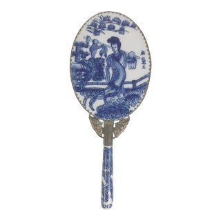 Chinoiserie Blue and White Porcelain Hand Mirror With Silver Trim For Sale