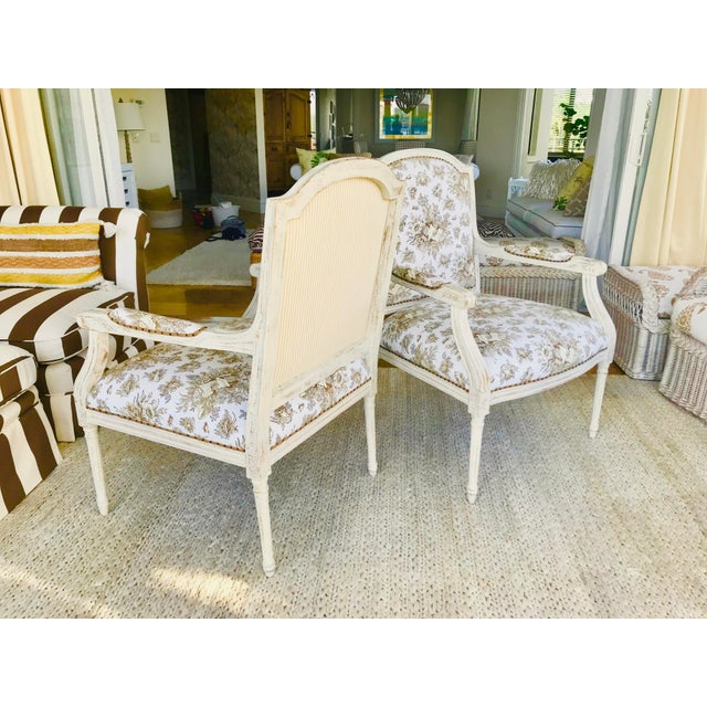 Shabby Chic 1990s Vintage Gustavian in Scalamandre Fabric Chic Distressed Side Chairs- a Pair For Sale - Image 3 of 8