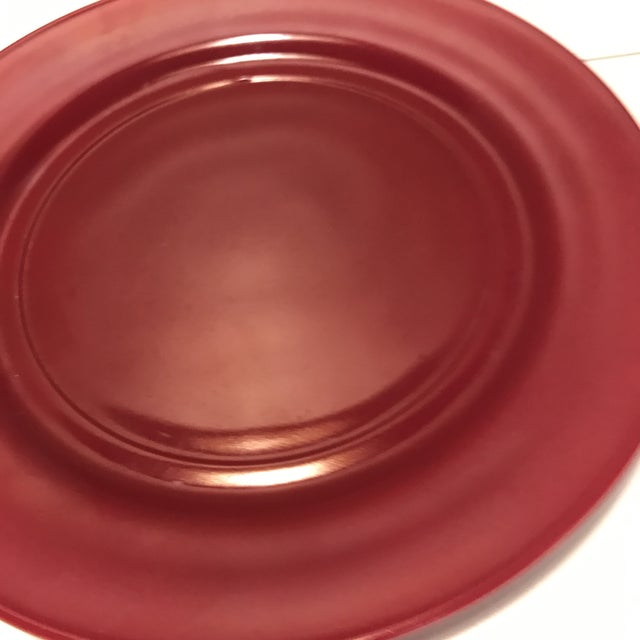 Art Deco 1930s Milk Glass Maroon Red Dinner Plates - Set of 4 For Sale - Image 3 of 8