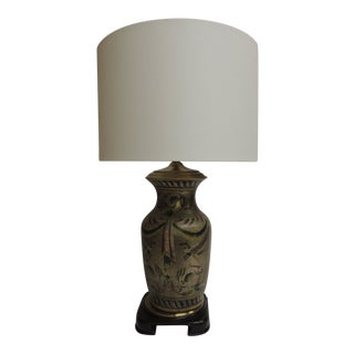 Vintage Hand-Painted Ceramic Table Lamp With Linen Drum Shade For Sale
