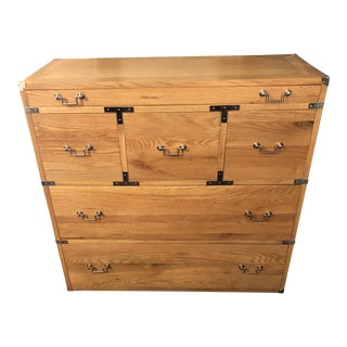 Campaign Style Blonde Teak and Chrome Chest of Drawers For Sale