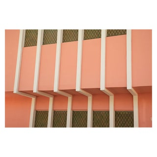Peach-Colored Art Deco Building in Miami Large Photo Pigment Print For Sale