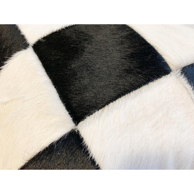"""Canvas Black and White Patchwork Cowhide Pillow, 24"""" For Sale - Image 7 of 8"""
