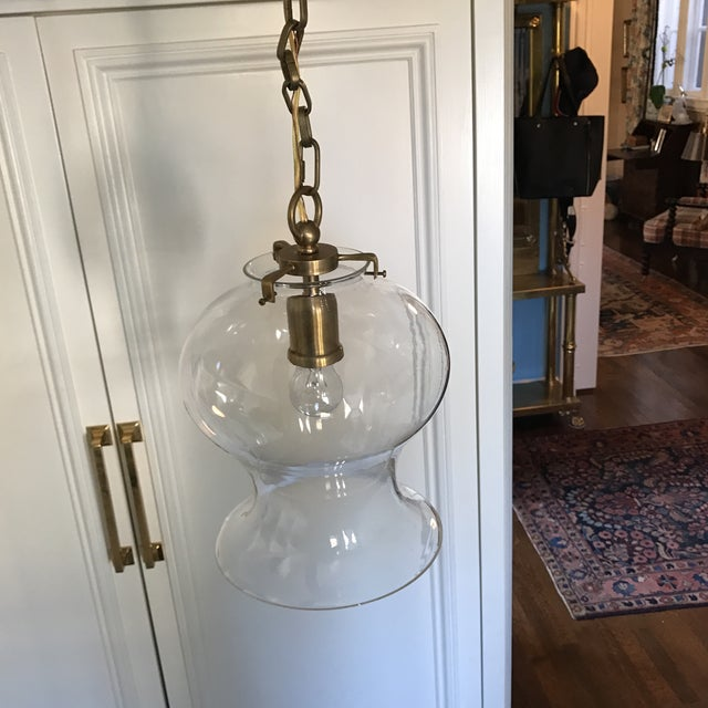 Hand-Rubbed Antique Brass Pendant Ceiling Light - Image 3 of 8