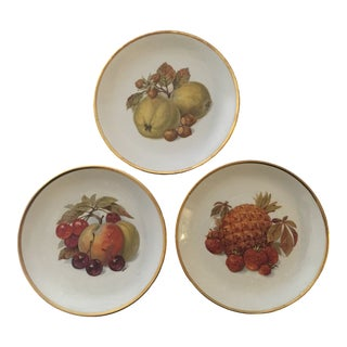 1930s Bareuther Waldsassen German Fruit Plates With Gold Trim-Set of 3 For Sale
