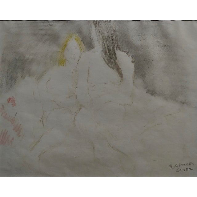 "Abstract Raphael Soyer ""Two Women in Bed"" Colored Pencil Drawing For Sale - Image 3 of 9"