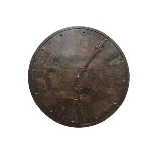 1940s Large French Antique Metal Wall Clock Face For Sale