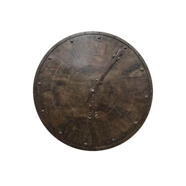 Large French Antique Metal Wall Clock Face For Sale