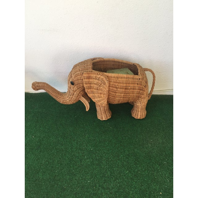 Brown Wicker Elephant Planter For Sale - Image 8 of 9