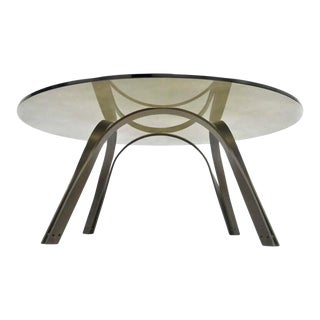 1970s Mid-Century Modern Trimark Bronze Sculptural Round Glass Coffee Table For Sale