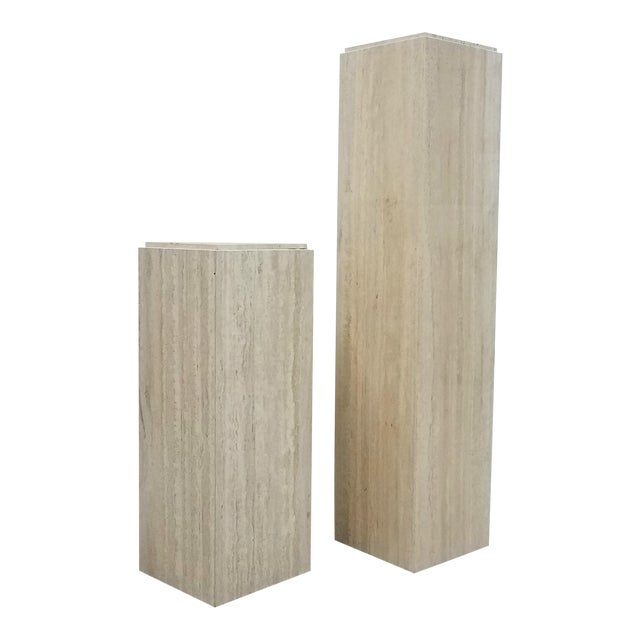 Pair of Square Vintage Italian Travertine Tiered Display Pedestals For Sale