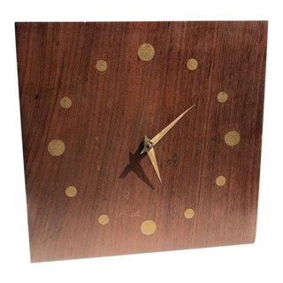 Mid-Century Modern Wall Rosewood and Brass Clock For Sale