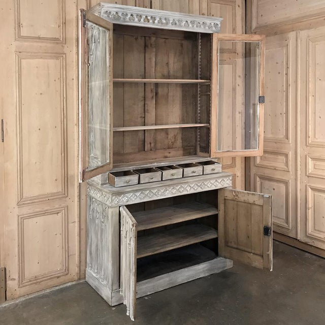 Wood 19th Century French Gothic Whitewashed Bookcase For Sale - Image 7 of 13