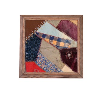 1800s Antique Remnant of Silk, Velvet and Embroidered Quilt For Sale