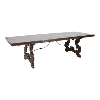 19th Century Italian Baroque Style Walnut Trestle Table With Iron Stretcher For Sale