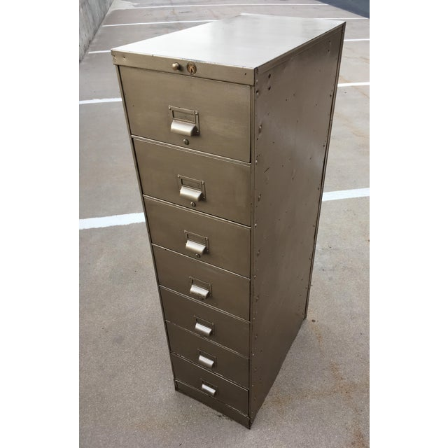 1930s 1930s Art Metal Industrial 7-Drawer Vertical File For Sale - Image 5 of 13