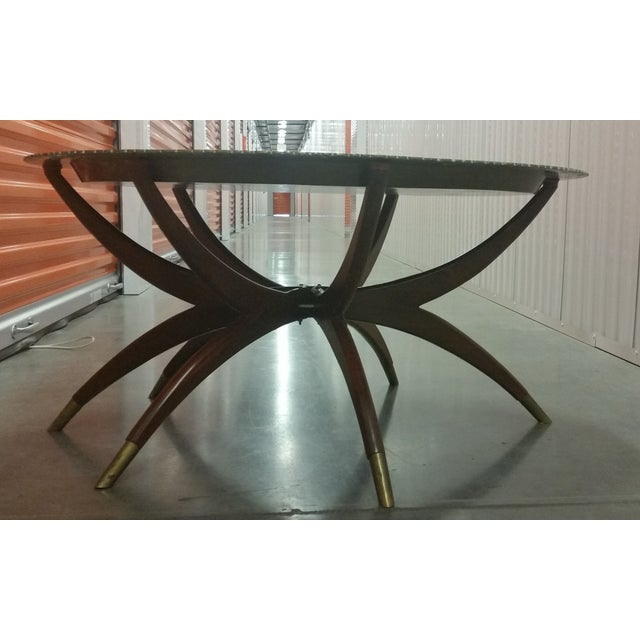 Boho Chic Mid-Century Brass Top Moroccan Style Coffee Table For Sale - Image 3 of 11