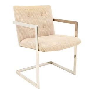 Vintage Mid Century Milo Baughman Style Chrome Base Chair For Sale