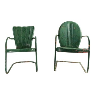 Metal Garden Patio Lawn Chairs - a Pair For Sale