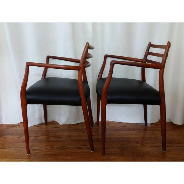 J.L. Møllers Møbelfabrik Mid 20th Century Mid Century Danish Modern Armchairs by J. L. Moller - a Pair For Sale - Image 4 of 10