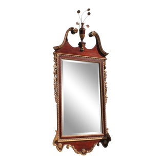 20th Century Chippendale Style Mahogany Mirror With Gilt Inlay