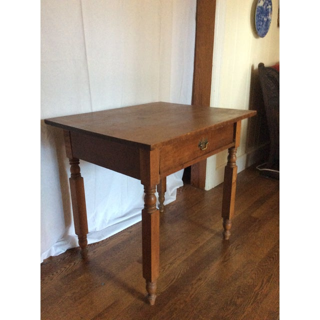 Primitive American Pine table with drawer. Great for rustic, mountain decor.