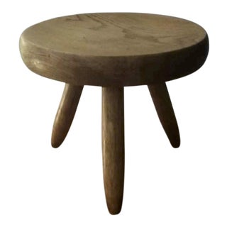 Charlotte Perriand Genuine Ash Tree Tripod Stool in Vintage Condition For Sale