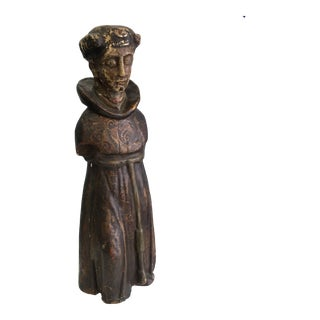 Wood Carved Monk Statue For Sale