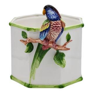 1960s Large Italian Ceramic Parrot Planter For Sale