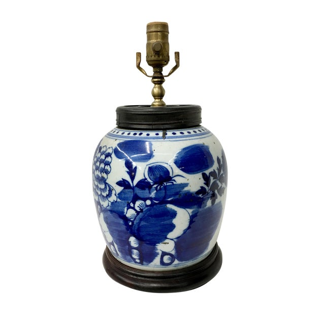 Early 19th Century Traditional Flower Painted Blue & White Antique Table Lamp For Sale