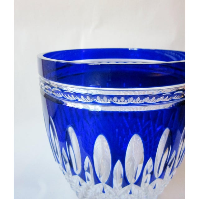 Glass Vintage Waterford Clarendon Cobalt Blue Cut to Clear Cased Crystal Ice Bucket For Sale - Image 7 of 11
