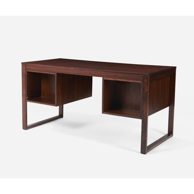 Rosewood Desk With Brass Pulls, Denmark, 1960s For Sale In Chicago - Image 6 of 8
