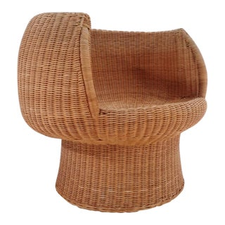 Eero Aarnio Style Mid Century Wicker Egg Chair For Sale