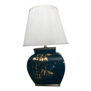 Vintage Asian Turquoise / Gold / Silver Ceramic Bamboo Decoration Table Lamp For Sale