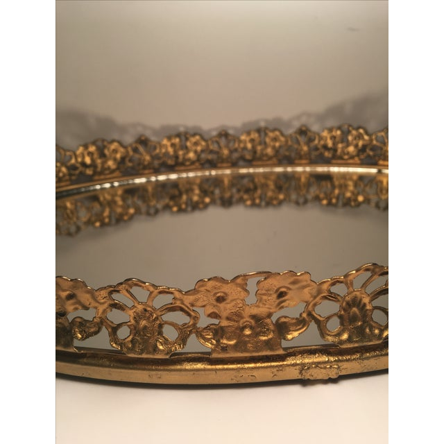 Floral Gilded Mirrored Vanity Tray - Image 6 of 6