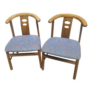 1970s Vintage Asian James Mont Style Teak Side Chairs- A Pair For Sale