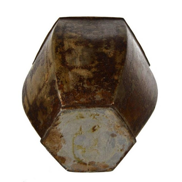 Vintage Indian Hand-Hammered Distressed Tin Storage Canister, Early 20th Century For Sale - Image 4 of 6