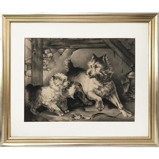 Antique Charcoal Drawing of Terriers For Sale
