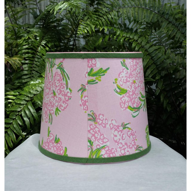 Metal Lilly Pulitzer Fabric Pink, Green Tapered Drum Lampshade For Sale - Image 7 of 12