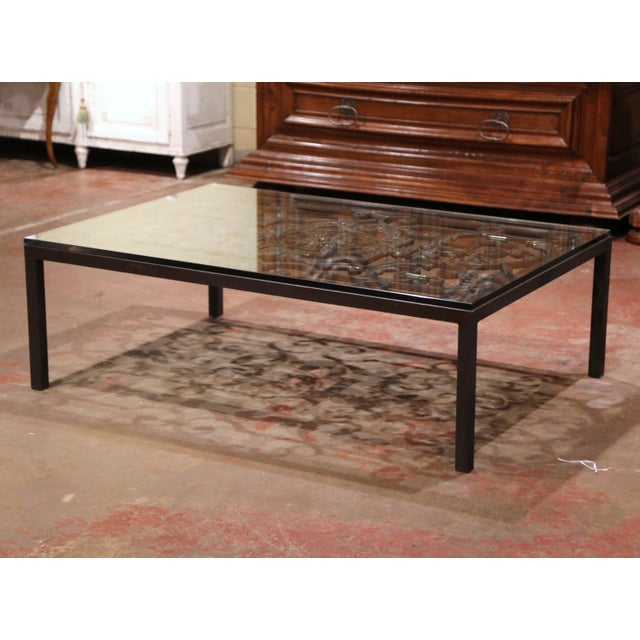 Metal 18th Century French Forged Iron Balcony Gate Coffee Table With Glass Top For Sale - Image 7 of 7