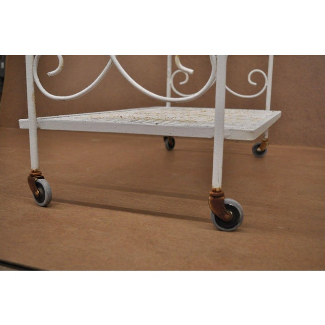 Vintage Wrought Iron Metal Mesh Patio Tea Cart For Sale - Image 10 of 12
