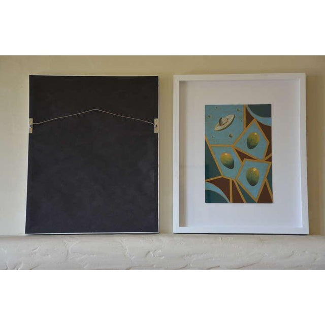 Pair of Whimsical Surrealist Oil on Panel Paintings in Shadow Boxes For Sale - Image 4 of 8