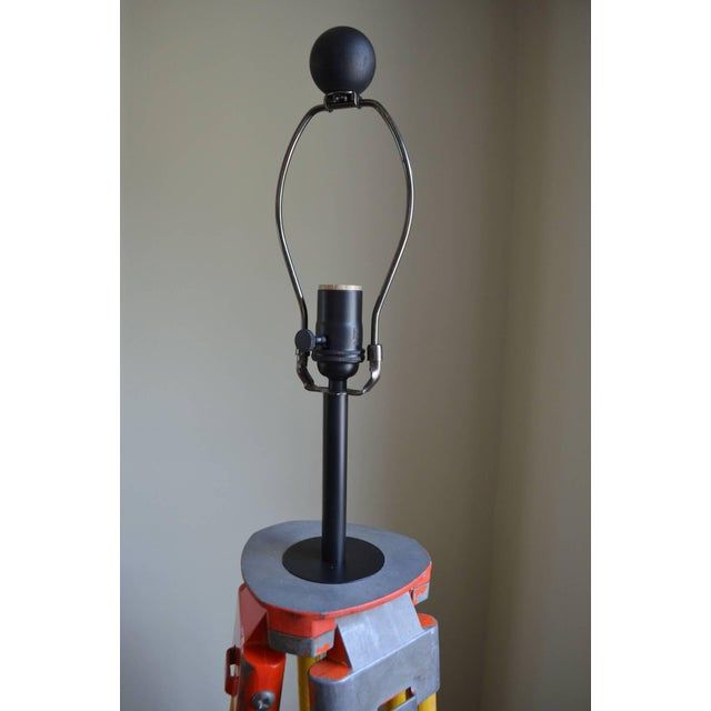 Wood steel floor lamp from surveyor39s tripod chairish for Surveyors floor lamp wood