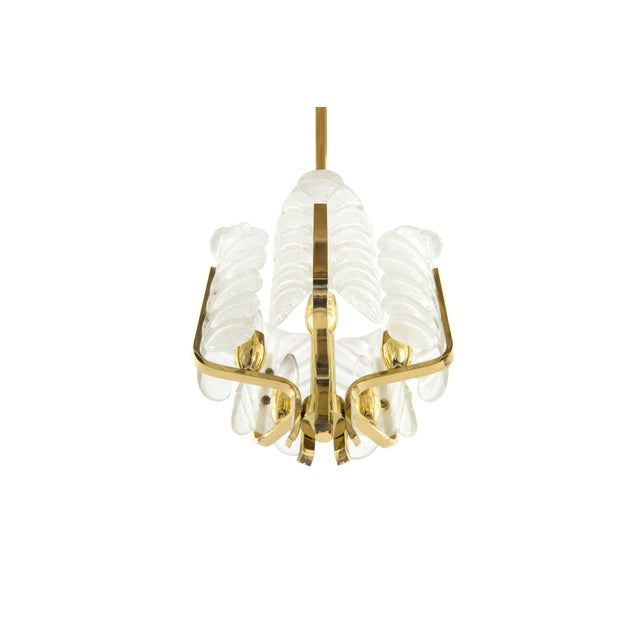 Orrefors Murano Glass Brass Chandelier by Carl Fagerlund for Orrefors, Sweden, 1960s For Sale - Image 4 of 10