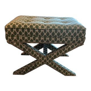 Transitional Small Ottoman For Sale