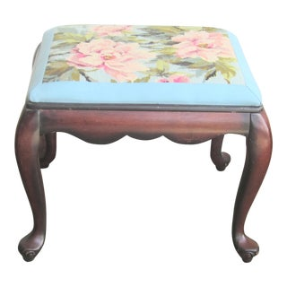 Queen Anne Bench Floral Needlepoint Top Mahogany Bench